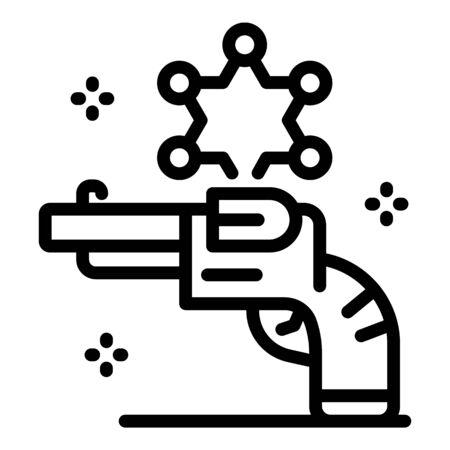Policeman revolver icon, outline style