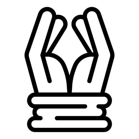 Prison hands tied icon, outline style
