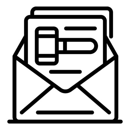 Judge letter decision icon, outline style