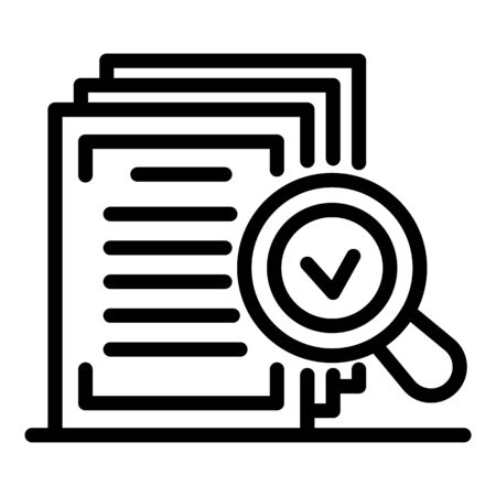 Notary approved document icon, outline style