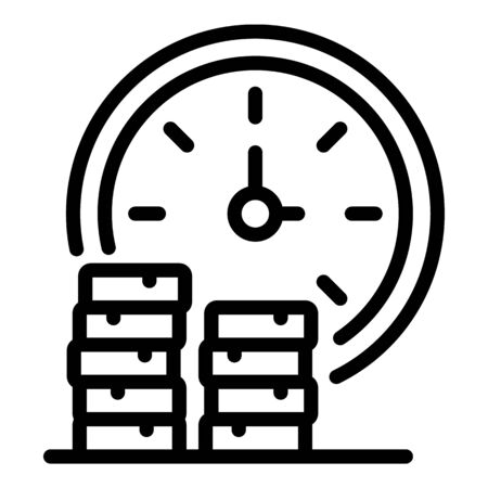 Coins stack and time icon, outline style 일러스트