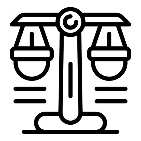 Notary judge balance icon, outline style