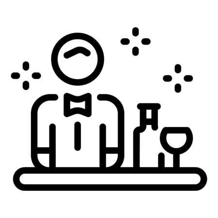 Barista in front of the bar icon, outline style