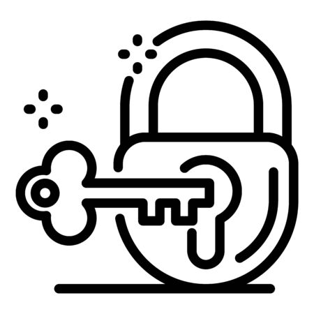 Justice padlock key icon, outline style
