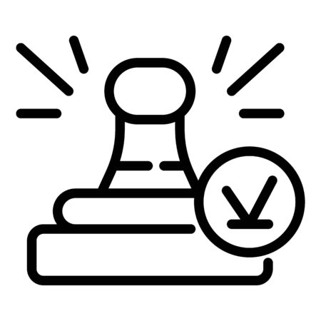 Notary approved stamp icon, outline style