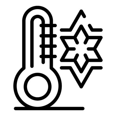 Snowflake and thermometer icon, outline style