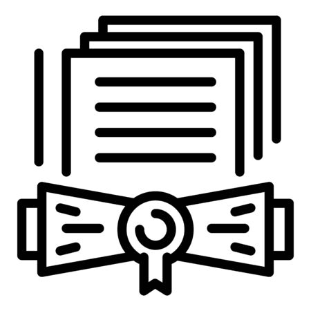 Notary certificate icon, outline style