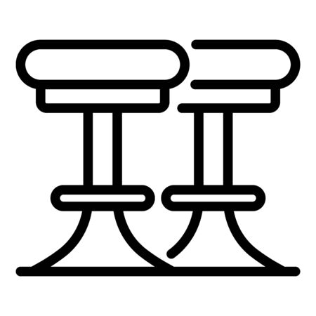 Bar round chairs icon, outline style Çizim