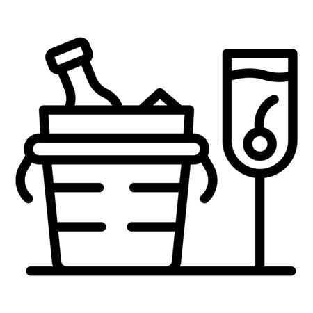 Champagne in a bucket with ice icon, outline style