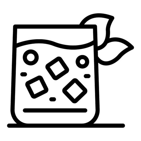 Glass with a cocktail icon, outline style