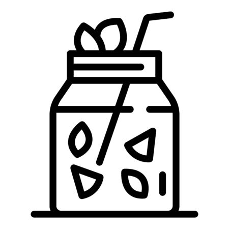 Jar with orange juice icon, outline style Zdjęcie Seryjne - 147563767