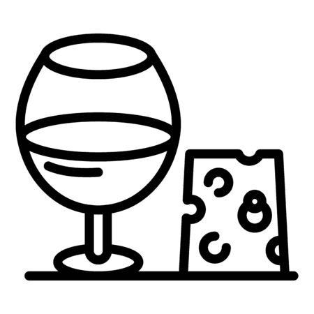 Glass and cheese icon, outline style