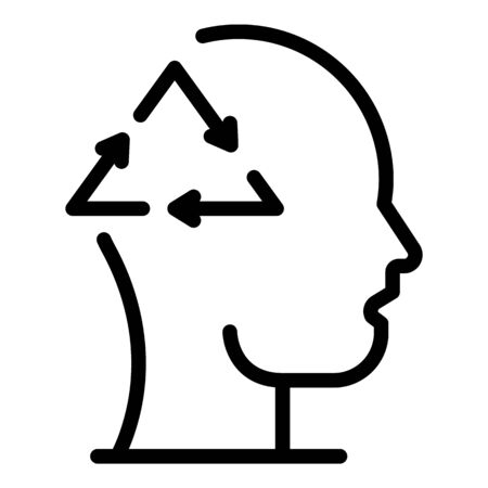 Head and recycling sign icon, outline style Ilustrace