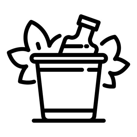 Bottle of wine in a bucket icon, outline style