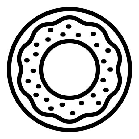 Frosted donut icon, outline style Illustration
