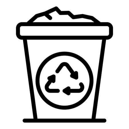 Trash container icon, outline style Illustration