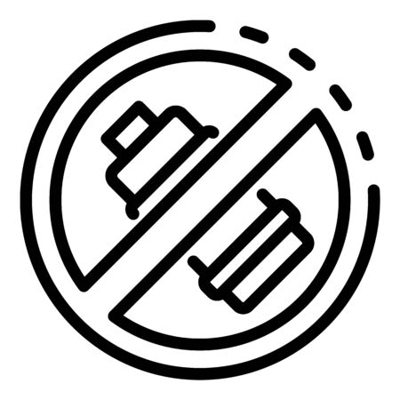 Crossed out battery icon, outline style