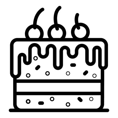 Cake with cherries icon, outline style Vecteurs