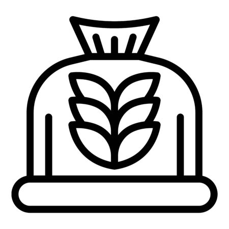 Bag of flour icon, outline style