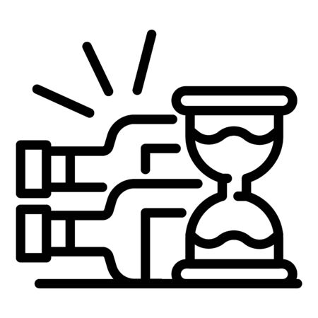 Hourglass and bottles icon, outline style