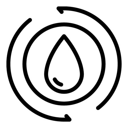 Drop in a circle icon, outline style