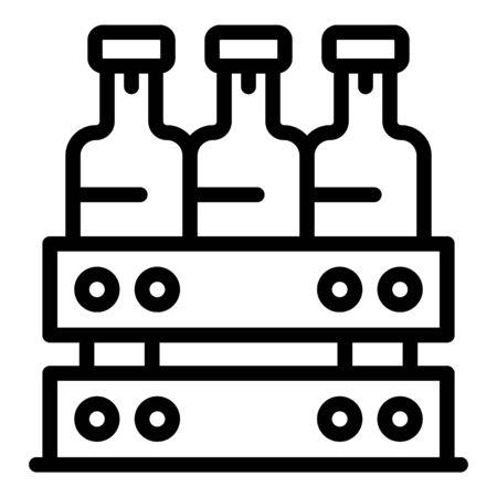 Box with alcohol icon, outline style Illusztráció