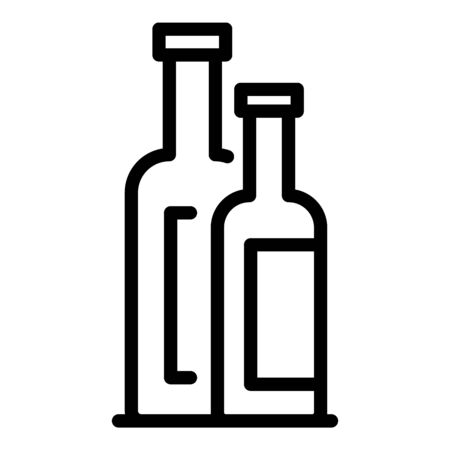 Small and big bottles icon, outline style