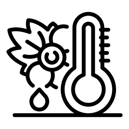 Grapes and thermometer icon, outline style