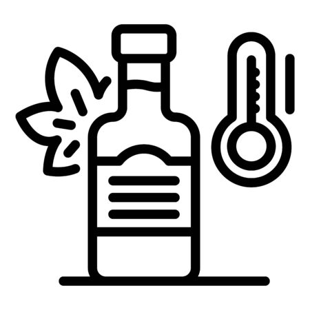 Bottle of wine and thermometer icon, outline style