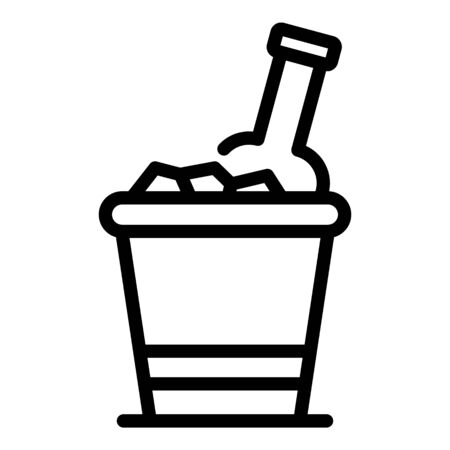 Bottle in ice bucket icon, outline style 向量圖像