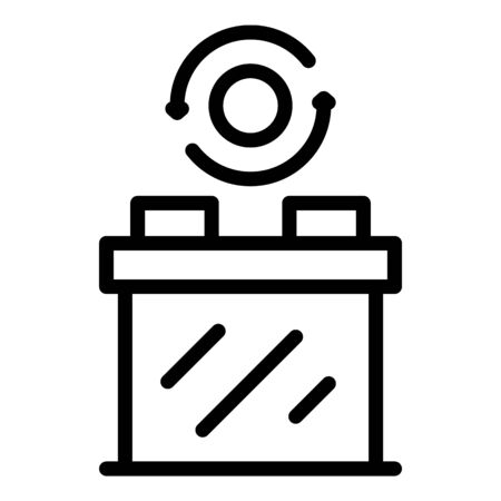 Recycling batteries icon, outline style Illustration