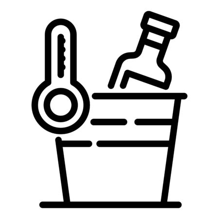 Cooling a bottle of wine icon, outline style