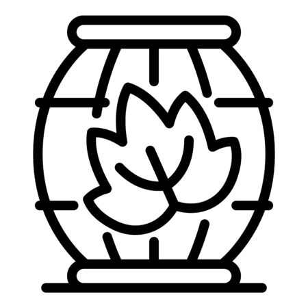 Barrel and leaf icon, outline style
