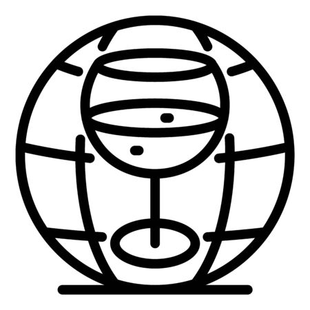 Glass and globe icon, outline style