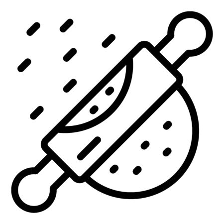 Rolling pin and dough icon, outline style