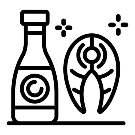 Bottle and fish icon, outline style