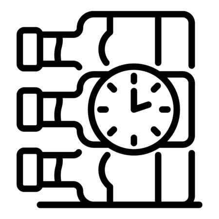 Wine bottles and clock icon, outline style