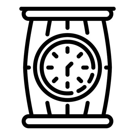 Barrel and clock icon, outline style