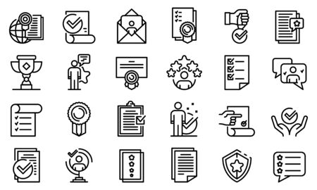 Attestation service icons set, outline style