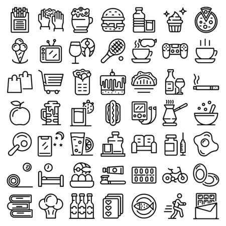Habit icons set, outline style