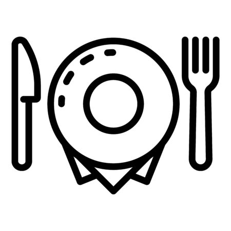 Plate fork and knife icon, outline style