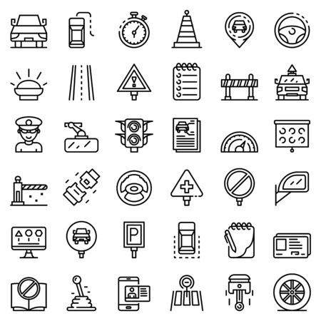 Driving school icons set, outline style Çizim