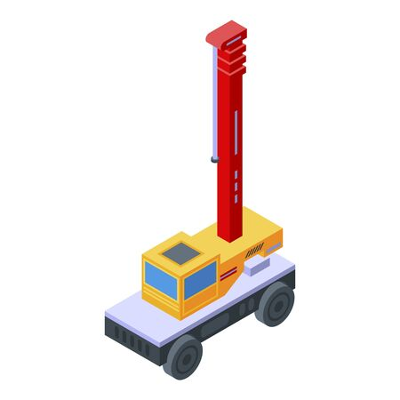 Lift truck crane icon. Isometric of lift truck crane vector icon for web design isolated on white background Ilustracja