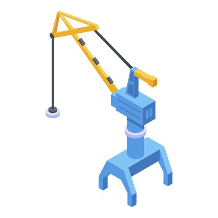 Port magnet crane icon. Isometric of port magnet crane vector icon for web design isolated on white background