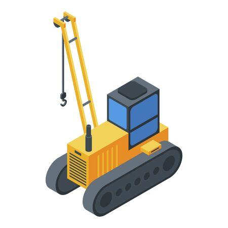 Excavator crane icon, isometric style