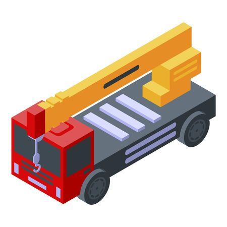 Big truck crane icon, isometric style