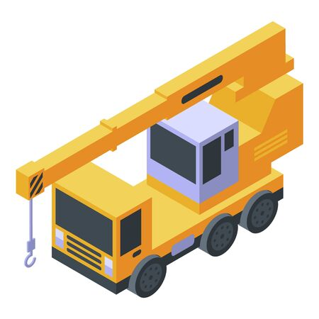 Vehicle crane icon, isometric style