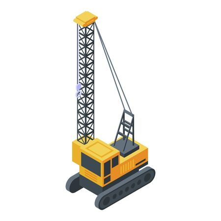 High excavator crane icon, isometric style