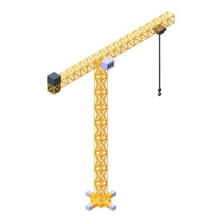 Construction crane icon, isometric style
