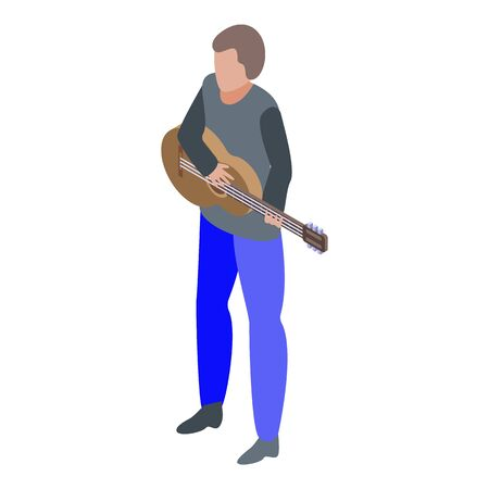 Boy play at acoustic guitar icon, isometric style